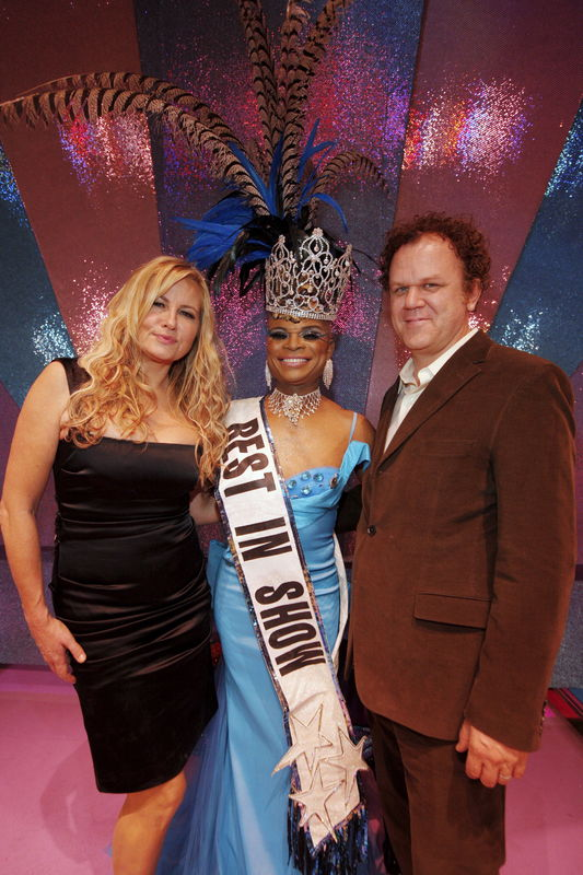 Jennifer Coolidge, 2009 winner Sybil Rights, and actor John C Reilly at the 7th Annual Best In Drag Show Fundraiser to Benefit Aid for Aids held at the Orpheum Theatre, Los Angeles.  © Sean Smith/jpistudios.com 310-657-9661