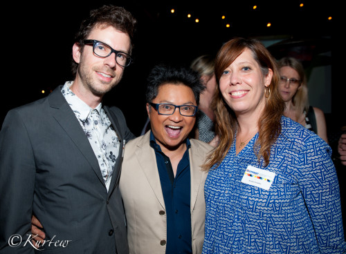 """The star of """"Baby Daddy,"""" Alec Mapa, center, with husband Jamison Hebert and Outfest Executive Director Kirsten Schaffer."""