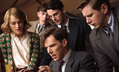 "Benedict Cumberbatch (seated) and cast from ""The Imitation Game."""