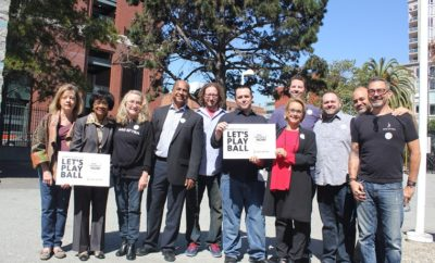Gabrielle Carteris with other SAG-AFTRA officials and KNBR employees.
