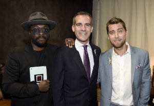 will.i.am, from left, LA Mayor Eric Garcetti and Lance Bass at onePULSE: A Benefit for Orlando at NeueHouse Hollywood. (Photo by Dan Steinberg/Invision for onePulse Foundation/AP Images)