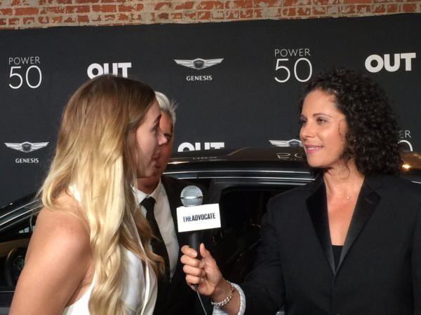 Comedian and host of The Advocate's Out in Left Field conducted interviews on the red carpet.