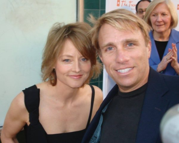 Radio host Cary Harrison with actress Jodie Foster.