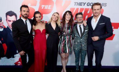 Justin Theroux, Mila Kunis, Kate McKinnon, writer-director Susanna Fogel, writer David Iserson, Sam Heughan.