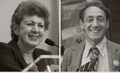 Lillian Faderman, left, Harvey Milk.