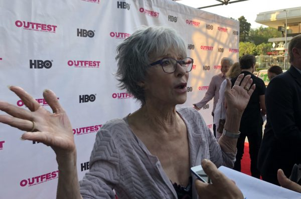 "Actor Rita Moreno made a splash on the red carpet for the Terrence McNally doc, ""Every Act of Life."""
