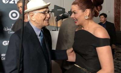 Norman Lear and Debra Messing