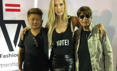 From left: Nik Kacy, Carmen Carrera and Susan Surftone at Equality Fashion Week.